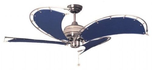 "Fantasia Spinnaker 52"" Stainless Steel & Blue Ceiling Fan 111375"